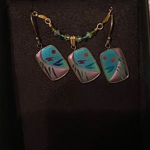 Brand new abalone ear ring and necklace set !